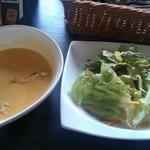 39193334 - カレーセットのスープとサラダ