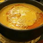 39203491 - 鶏白湯タンタンつけ麺のつけ汁です。