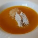 39205544 - アイスのクリームを混ぜていただいた帆立入りスープ