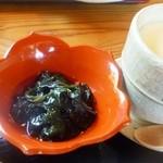 恩 - 天麩羅膳の小鉢と茶碗蒸し