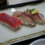 寿司茶屋 桃太郎 - 2015.06 赤身、サバ、アジ(各150円)