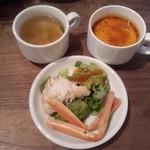 39232896 - 蟹入りサラダとスープ2種類