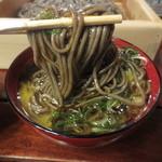 竹邑庵太郎敦盛 - 出汁には、九条ねぎと卵黄、ワサビが入っています♪