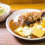 田中カレー - ナスメンチカツカレー+温玉+ダブルチーズ
