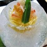 39243907 - 先付 素麺南瓜と車海老の酢の物 オクラ、針生姜