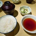天ぷら ふそう - 定食共通のセット 美味しいご飯はお代わりできます。