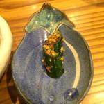 豆とくるみ - せいろ蒸し膳のお漬物☆ この日はきゅうりのお漬物にスパイスをまぶした、ちょっと変わったお漬物でした♪