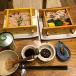 豆とくるみ - 季節野菜とおこわのせいろ蒸し膳 ¥1250 ☆この日は豚肉をチョイス♪ 少し脂身が多い豚バラ肉でしたので、ポン酢でいただきました(^^)