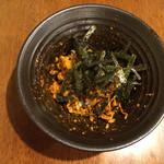 座・中村 - 御飯・卵黄を入れてよく混ぜたら、最後に刻み乗りをかけてくださいます(*^_^*)