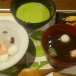 白玉っ子 - お抹茶と白玉あんみつと白玉ぜんざいの豪華セット