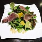鉄板焼 grow - カボチャと生ハムサラダ  生姜と新玉ねぎのドレッシング