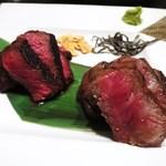 鉄板焼 grow - 千屋牛ステーキ  サーロイン、しんたま