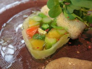 古我邸 - 冷たいオードブル 鎌倉野菜のテリーヌ 軽く燻製をかけた松輪のタコのカルパッチョ  タラコの入ったタプナードソースと香草オイル
