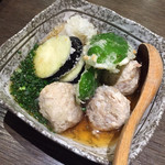 地鶏と酉 大名 へて - 特製つくねと野菜の揚げ出し(^^)出汁がすっごく美味しい(^^)