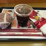 マクドナルド - アイスコーヒー、ハンバーガーです。どちらも100円♪