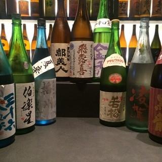 日本酒、焼酎、地梅酒が200種類。飲み放題にも有名銘柄多数。
