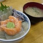 市場亭 - お好み丼 いかとサーモンの丼 1500円