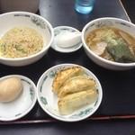 日高屋 - ラ餃チャセット+サービス券の味玉