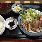 侍 - 豚肩ロースとせせり塩ポン酢定食