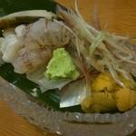 魚楽 - お刺身盛り合わせ (蒸しアワビ、鱧、車海老、黒むつ、アジ、ウニ)