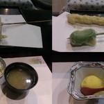 39409488 - ミョウガ・海老と生麩・じゃこ飯と味噌汁と漬物・マンゴーアイス