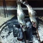合掌民宿 なかや - 料理写真:夕食の岩魚 ジャンボ!