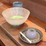 ワド オモテナシ カフェ - お抹茶+和菓子セット (600+280円) '15 5月中旬