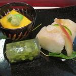 割烹 新多久 - 南京豆腐 石鯛棒寿司 みずゼリー寄せ