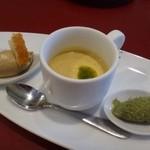 39445606 - アミューズ・・ほうれん草のムース・20種類のお野菜を使用したスープ。