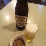 39481134 - ビールにお通しのホタルイカと大根の煮物
