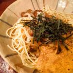 スパゲティーnokishita - あさり、納豆、しめじ