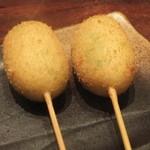 焼とりの八兵衛 - えんどう豆の串揚げ