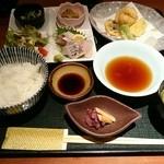 尾道結膳 楽 - 日替わり定食(あなごの天ぷら)