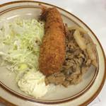 キッチン南海  - 海老フライしょうが焼き830円