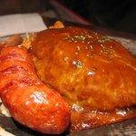 ステーキハンバーグ&サラダバーけん - ハンバーグ&骨付きフランク「あっぷ図」