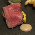 神戸イタリアン KIZUNA - 和牛モモ肉のタリアータ、トウモロコシのバーニャカウダ