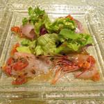神戸イタリアン KIZUNA - 前菜~本日の鮮魚、アジとカンパチとヒラメと島エビのカルパッチョ