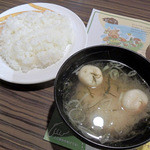 びっくりドンキー - ランチのご飯と味噌汁