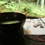 休耕庵 竹の庭の茶席 - 2015/6/☆  抹茶と小菓子  500円