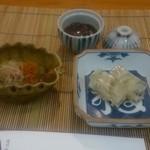 39580602 - 前菜。河豚の煮こごり、ホタルイカ、茄子とカラスミ