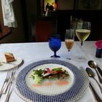 JOY味村 - 前菜。食前酒と白ワイン。