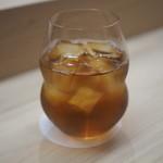 麻布十番 ふくだ - 烏龍茶のグラスはリーデル