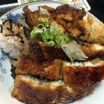 大和田 - ひつまぶし。お茶碗に薬味と盛って