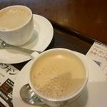 上島珈琲店 - ミルク珈琲、ブルボンヴァニラの無糖ミルク珈琲
