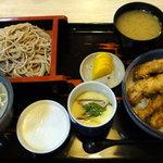 本手打ちそばやな川 - 料理写真:穴子天丼セット(1250円)