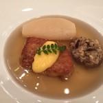 オーベルジュ・ド・リル - 小蕪、椎茸、フォアグラにコンソメスープ