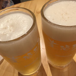 荻窪ビール工房 - 自家製ホワイトエールとブロンドエール。時間があればIPAとかも飲みたかった。。