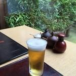 打心蕎庵 - ビールで喉の渇きをまず癒す