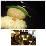 39646248 - ◆鱧と蓮根餅のお椀・・お出汁がもう少し美味しいのかと思いましたが、そうでもなくガッカリしました。                       鱧はいいお味でした。