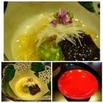 39646255 - ◆最初に「あられ湯」次に「振る舞い酒」を頂きます。                       お料理は「つぶ貝の酢の物」、、特に工夫も感じません、普通です。